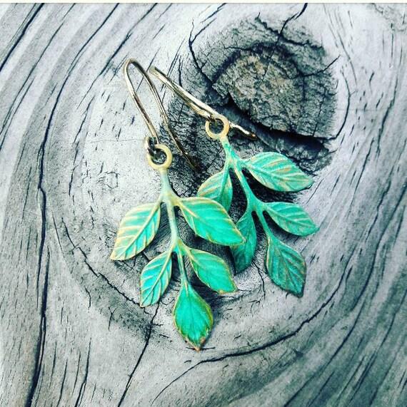 Verdigris Branch Earrings, Dangle Earrings, Leaf Earrings, gift for her