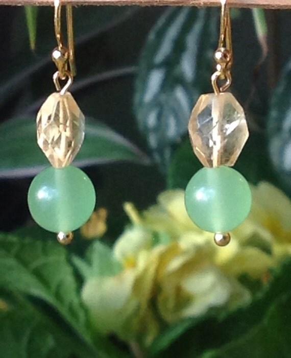 Summer Lime green chrysocolls faceted lemon citrine Gem stone 14 k gold pt or striling sliver dangle earrings by T.R. Jackson.