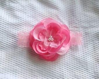 Pink Pearl Rose Flower Newborn Headband Photo Prop