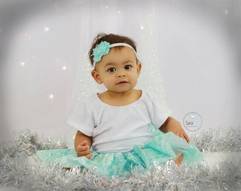 Aqua Paisley Satin Tutu Photo Prop