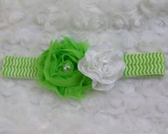 Lime/White Chevron Kara Baby Flower Headband Photo Prop