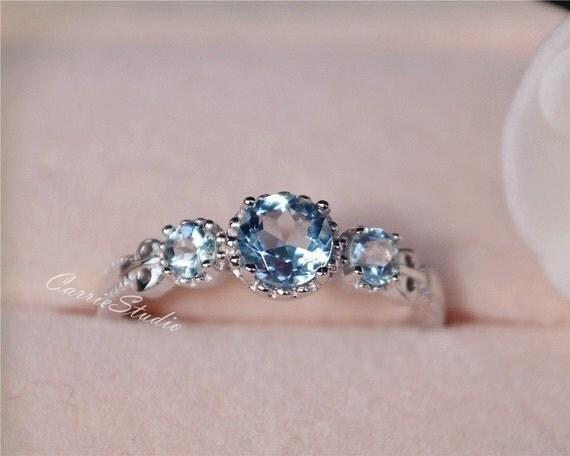 Antique Delicate Natural Aquamarine Ring Aquamarine Engagement