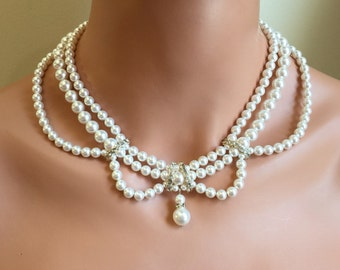 Pearl Wedding Necklace and Earrings Set multi strand Swarovski Pearls in White or your choice of color rhinestone Vintage Victorian style