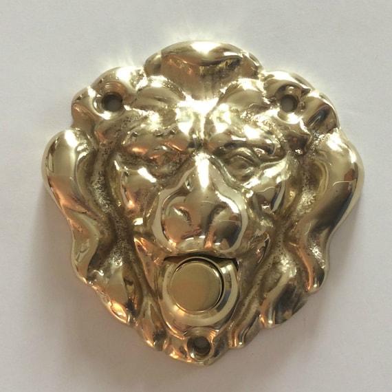 Rare en laiton massif lion t te bouton poussoir sonnette en for Bouton sonnette exterieur