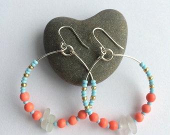 Seaglass beaded earrings