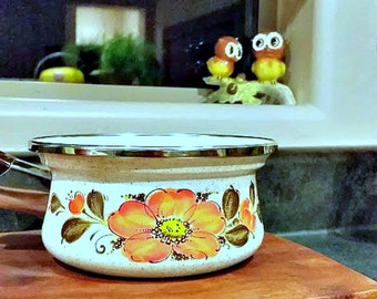 Vintage Show-pans SANKO WARE Enamel Pot from Japan 70's Retro