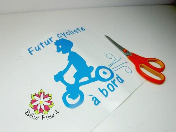 vinyle Baby on board bébé à bord cycliste