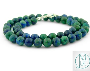 Chrysocolla Necklace 8mm Genuine Natural Gemstone Round Beads 16-30'' Chakra Reiki Healing Stone With Pouch FREE UK SHIPPING