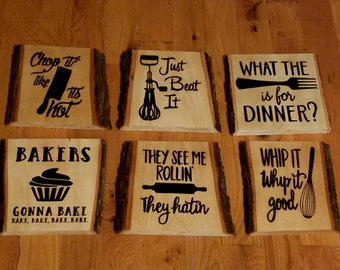 Wood Burned Kitchen Signs (set of 6)
