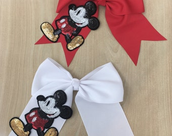 Inspired Sequin Mickey Mouse Cheer Bow