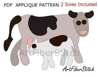 Cows  PDF Applique Template Pattern - available for instant download from ArtFiberStitch