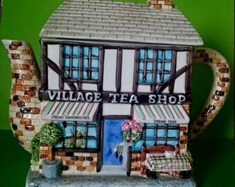 The Village Tea Shop Decorative Teapot - The Village Collectables By Annie Rowe