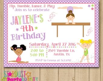 Gymnastics Birthday Invitation, Gymnastics Invitation, Tumbling Invitation, Gymnastics Party Invitation, Girl Gymnastics Invitation