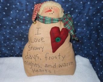 Primitive Snowman, Snowman Doll, Stitchery Doll, Holiday Decor, Christmas Decor