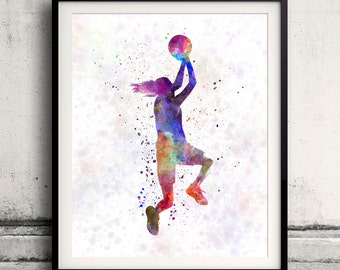 Young woman basketball player 05 - 8x10 in. to 12x16 in. Poster Digital Wall art Illustration Print Art Decorative - SKU 1588
