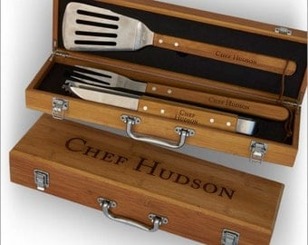 Personalized Bamboo Grilling Set - Personalized BBQ Utensils & Box -  3374