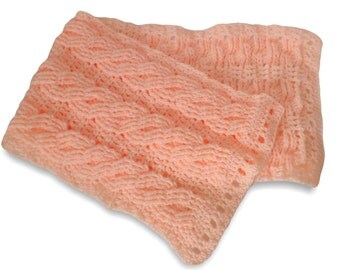 Peach Cable Scarf / 38 inch scarf / crochet cable scarf / Soft Coral Cable Scarf / 9 inch wide warm winter scarf / cable scarves / scarves