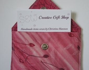 Business Card Holder / Gift Card Holder / Credit Card Holder / Mini Wallet / Card Organizer - Pink Rose Fabric with Flower Bud Print