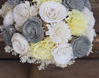 Yellow Bouquet, yellow sola bouquet, wedding bouquet, yellow gray bouquet, keepsake bouquet, rustic wedding, country wedding,wedding flowers
