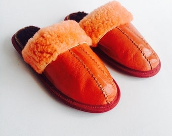 Children slippers, leather slippers, handmade, orange leather
