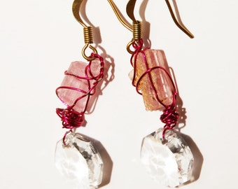 "Vintage Rock Crystal 1.5"" Earrings."