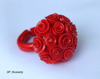 Rose Clay Ring, rose ring, Bouquet Red Rose Ring, jewelry ring, flower ring, ring clay, red ring