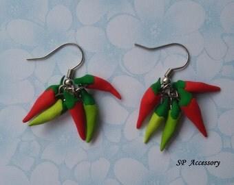 chiili earrings, red earrings, chilli clay, clay earrings, earrings clay, guinea-pepper