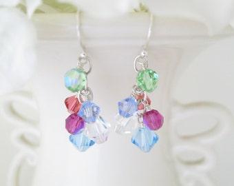 Multi color cluster earring, Swarovski crystal earring