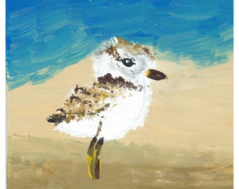 "Art Print 5x7"" Piping Plover on Beach Actual Size"