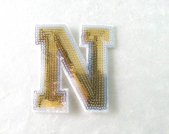 Gold Alphabet Letter N Iron on Patch - Gold Sequin N, Glitter Applique Embroidered Iron on Patch - Size 6.4x7.5 cm#T2