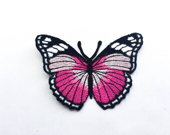 Pink Butterfly Iron On Patch (L) -  Butterfly Applique Embroidered Iron on Patch Size 7.5x5.1 cm