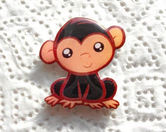 Free shipping Мonkey brooch pin Animal brooch animal jewelry , monkey jewelry clay monkey  clay pin present gift naughty monkey