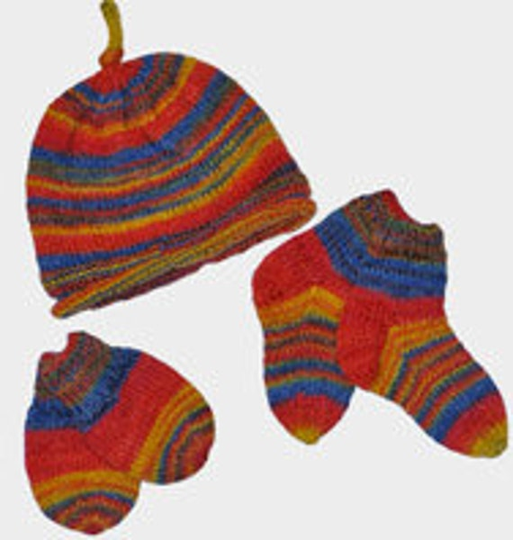 Baby Hat Knitting Pattern Sock Yarn : Knitting pattern baby hat socks and mittens can be made with
