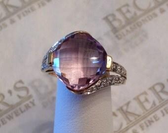 Vintage 10k two tone ring Cushion Checkerboard Fancy Cut 12mm Amethyst & 8 Diamonds in split shank size 8