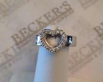 Vintage 18k white gold 16 Pavé Set Diamond Open Heart Ring with Wide Shank .16 tw I-SI2-I1, size 7