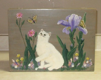 Large Vintage Wood Velvet Lined Hand Painted Cat / Butterfly Themed Storage Box