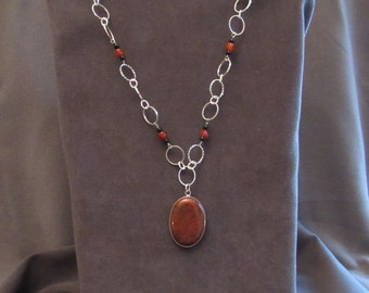 Red Poppy Jasper and Sterling Silver Necklace