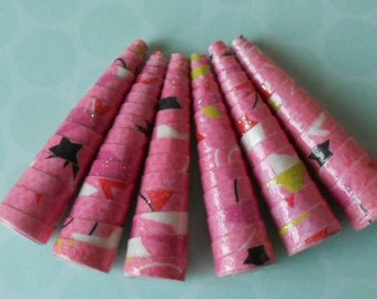 6 Handmade paper cone beads, starry pink