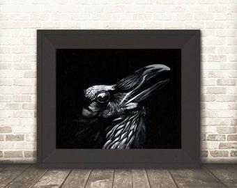 Raven print, Crow Print, Corvus, Crow art, Raven art, Dark art, silhouette art, Wall art, Crow decor, Crow painting, black bird, Raven print