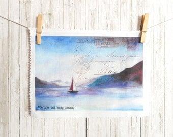 Tissu lin imprimé, 1 coupon de tissu en lin Rue des Souvenirs, peinture paysage mer imprimée sur tissu, style bohème voyage, tissu couture