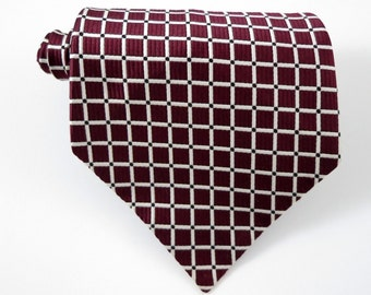 Vintage 1970s WIDE Tie Cravate de France Made Maroon Check NOS Necktie