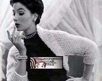 Knit Shrug Knitted Bulky Bolero Shortie Sweater Vintage Knitting Pattern Instant Download