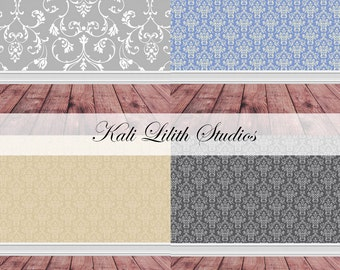 Digital Backdrop/Newborn Backdrop/Damask Wall with Brown Wood Floor/Digital Background/Digital Backdrop/Background Stock/Photo Backdrop