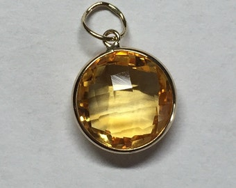 14k solid yellow gold and citrine charm, pendant, 10mm round.