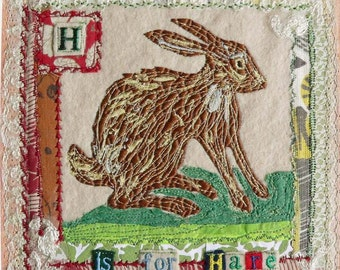 H for Hare - Framed Original Embroidery Collage