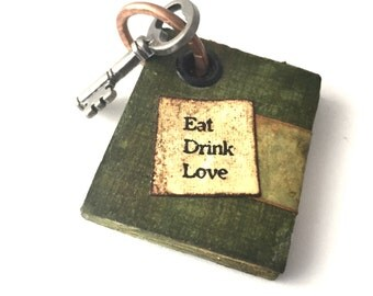 Mini Book Necklace - Girlfriend Jewerly Gift - Book Jewelry - Handmade Mini Book - Book Lovers Gift - Mini Book Necklace Eat Drink Love