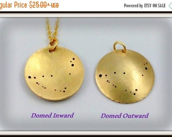 REVERSIBLE and DOMED Custom constellation or Zodiac pendant / necklace | hand-stamped |