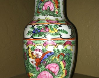 On Sale! - Vintage Japanese Rose Medallion Vase - ACF, Japanese Porcelain Ware, Decorated in Hong Kong - Hand Painted Vase