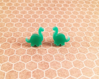Brontosaurus earrings, dinosaur earrings, dinosaur studs, dino studs