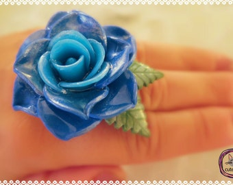 Blue Rose Ring/ Handmade Polymer Clay Rose Ring
